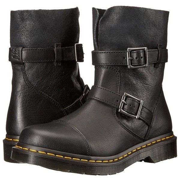 Dr. Martens Kristy Slouch Rigger Boot Women's Pull-on Boots ($155) ❤ liked on Polyvore featuring shoes, boots, ankle boots, motorcycle boots, platform boots, pull on work boots, slouch ankle boots and dr martens boots