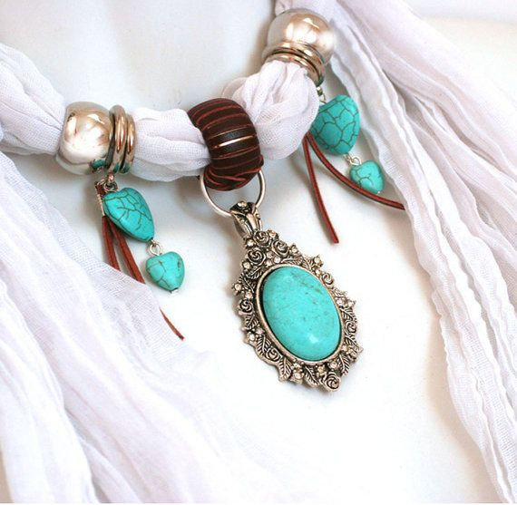 Scarves With Pendants White Scarves Scarf by RavensNestScarfJewel, $24.00