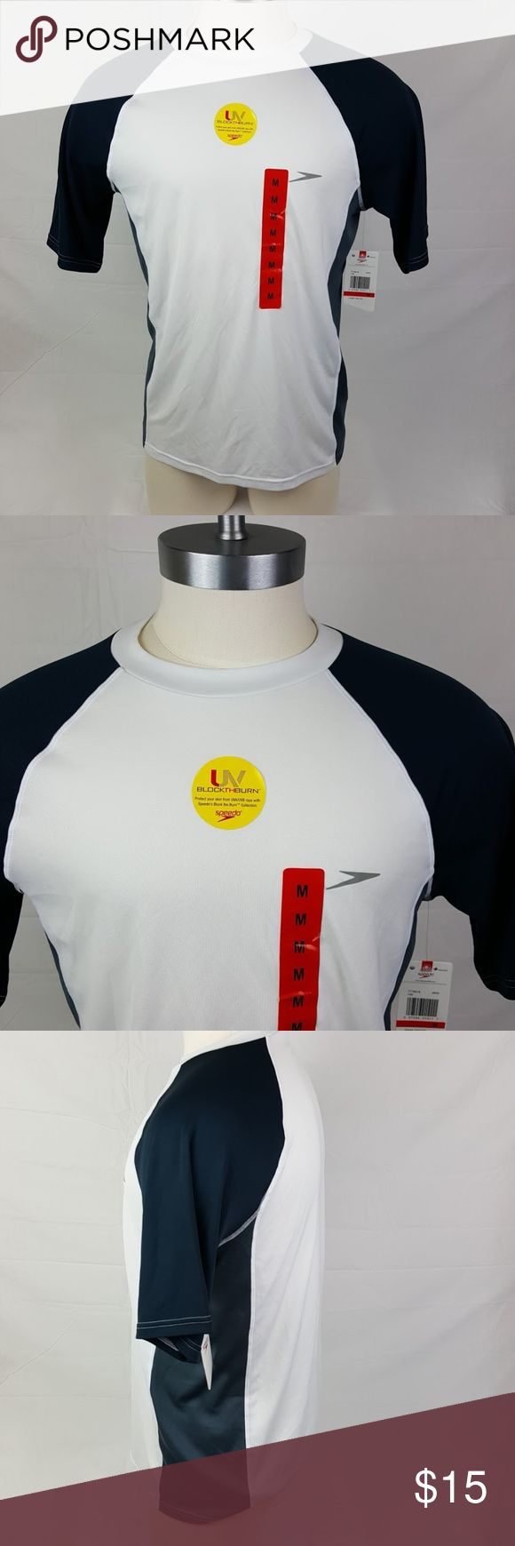 """Speedo Men's UVA/UVB Rays Protection Shirt NWT 100% Polyester, sport material Brand new with tags 28"""" long 21.5"""" Chest  Bin F7 Speedo Shirts Tees - Short Sleeve"""