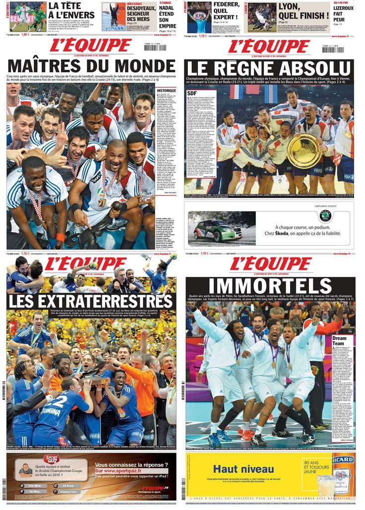 """Handball en 2009, 2010, 2011, 2012 : """"Maîtres du monde"""" : 70 ans de L'Equipe : 35 Unes marquantes - Linternaute"""