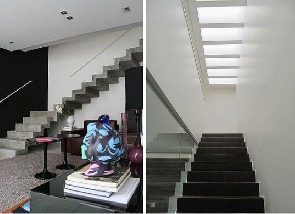 Escada moldada de concreto aparente, bem leve e moderna.