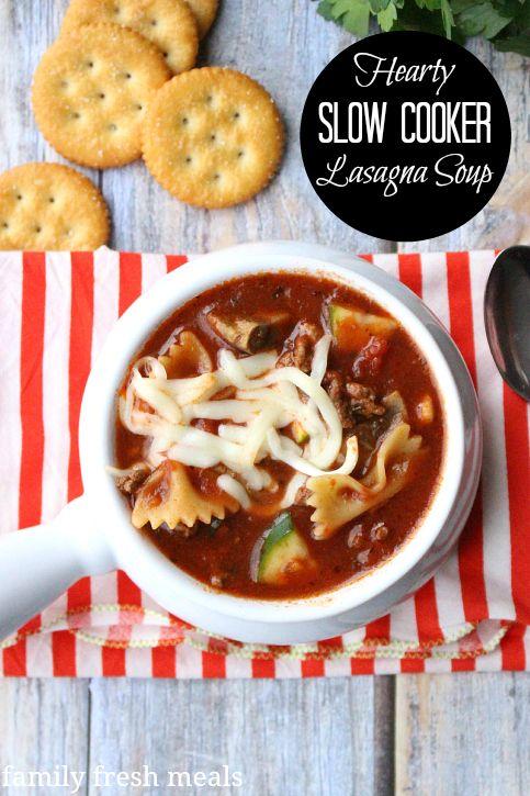Hearty Slow Cooker Lasagna Soup - FamilyFreshMeals ~ http://www.familyfreshmeals.com/2015/04/hearty-slow-cooker-lasagna-soup.html