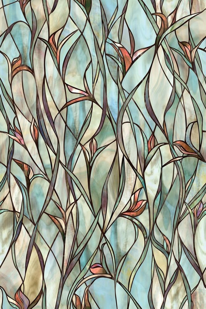 Stained Glass Panels Non Adhesive Frosted Privacy Flowers Decorative Window Film #bofeifs