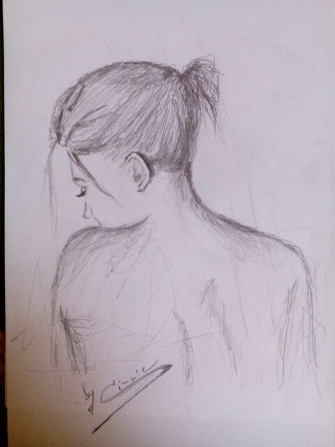 #drawing #woman #alone #thoughtful