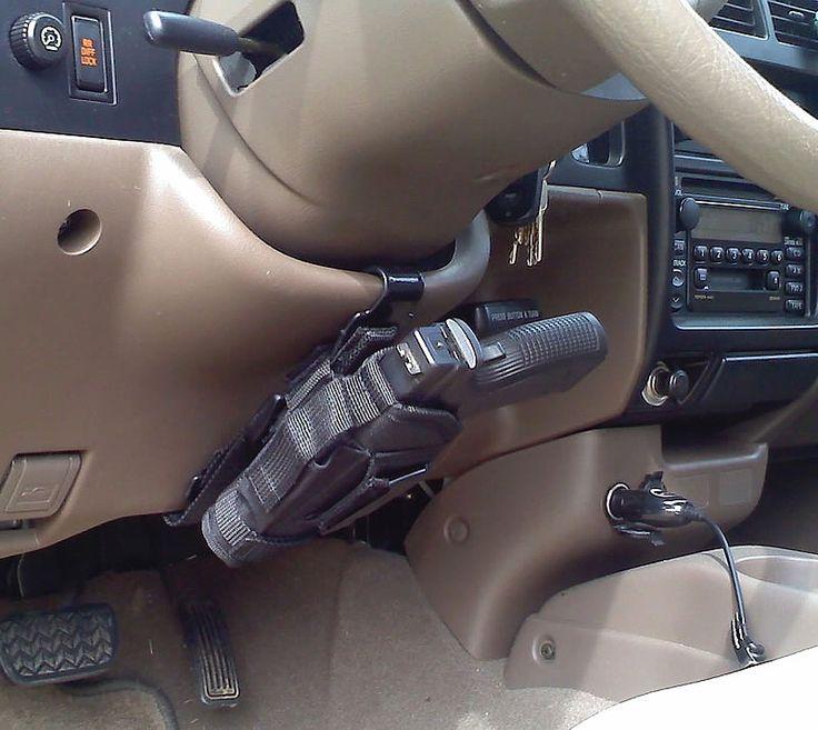 Anti-carjack device. 8^)Trucks, Ideas, Guns Holster, Stuff, Christmas Presents, Concealer Carrie, Steering Wheels, Weapons, Cars Accessories