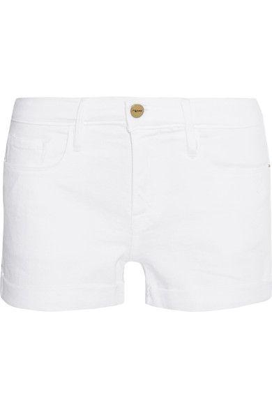 White stretch-denim Button and concealed zip fastening at front 94% cotton, 5% polyester, 1% elastane Machine wash