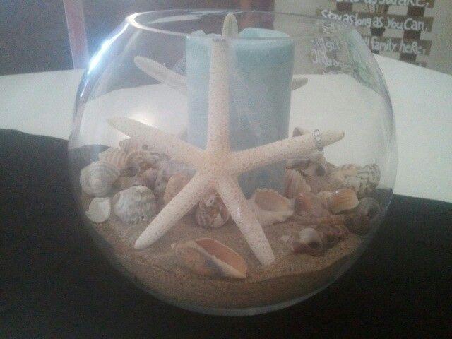 Our centre pieces.. Bride n groom starfish.. Looooove