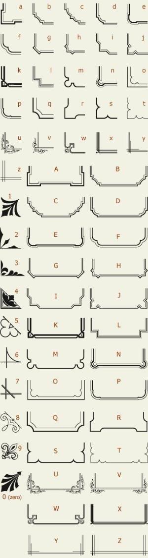 Letterhead Fonts / LHF Corner Specimens / Scrolls and Borders by Port Side Design