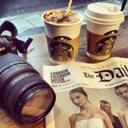london fashion week with the Times and starbuckses