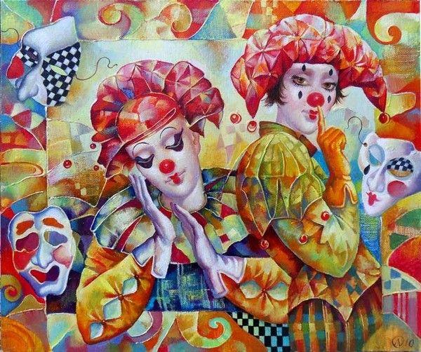Clowns et arlequins , cirque