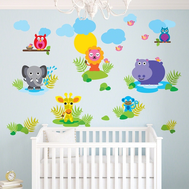 colorful jungle animals wall decals jungle animals wall decals stickers kids room wall decor - Baby Wall Designs