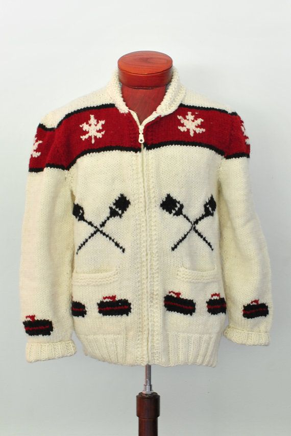 Mary Maxim Granite Club Curling Sweater New hand knit wool cardigan, brand new, not vintage, Cowichan style Big Lebowski Cardigan Sweater on Etsy, $139.00