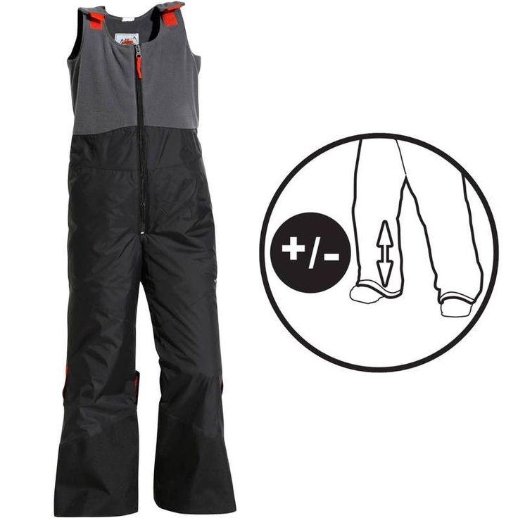 Detské lyžiarske nohavice 300 Pull'N Fit čierno-sivé, nastaviteľná dĺžka gumou, 22,9€