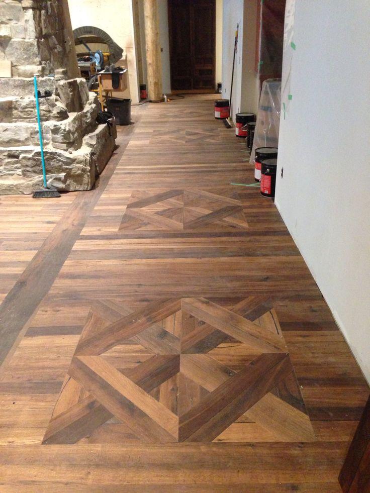 Custom parquet square made from hardwood flooring