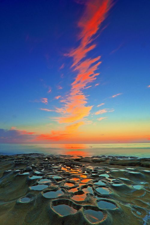 Sunset at low tide - La Jolla beach, San Diego, California, USA