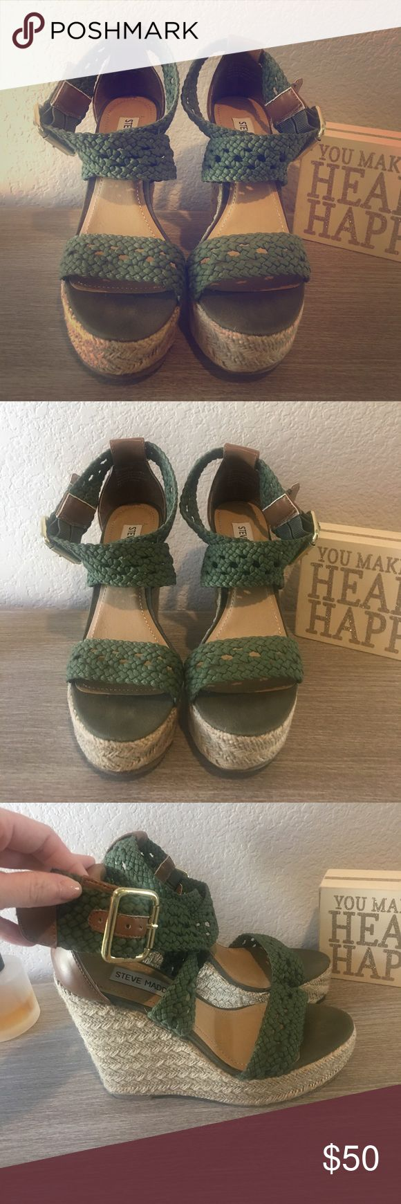 NWOT. NIB Steve Madden Wedges Price Firm. Fabulous Steve Madden Magestee Khaki Wedges.  Never worn. Have been stored in and will ship in box Steve Madden Shoes Wedges