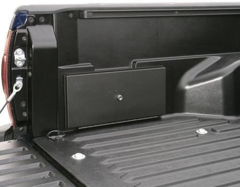 This 16-gauge steel security box replaces the plastic factory storage unit located in the Toyota Tacoma truck bed. The innovative design of the Tuffy replacement lockbox has 710 cubic inches of lockable storage which is over double what the original factory model has.  The design incorporates a continuous steel hinge, weather seal, welded construction, and a durable powder coated finish.