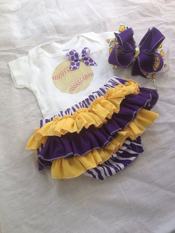 Baby girl softball onesie/ ruffled by darlingdivacreations on Etsy, $33.50