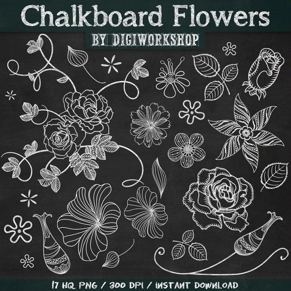 """Chalkboard clip art flowers - Digital clipart """"Chalkboard flowers"""" floral set with digital chalkboard leaves, flowers, twigs and ornaments #design #creative"""