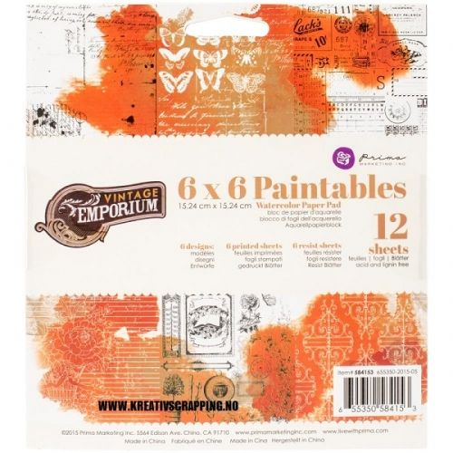 PRIMA+-+PAINTABLES+WATERCOLOR+-+VINTAGE+EMPORIUM  Papirblokk+fra+PRIMA+MARKETING.+12+SHEETS Prima+Marketing-Tales+Of+You+And+Me+Paintables+Watercolor+Paper+Pad.+Create+fun+watercolor+paintings+with+this+paper+pad!+Use+with+watercolor+pencils,+pastels+and+other+mediums.+This+package+contains+six+6x6+inch+printed+sheets+in+six+designs+and+six+resist+sheets.+Acid+and+lignin+free.