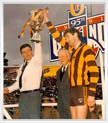 1991, Hawthorn 20.19 (139) d West Coast 13.8 (86).    Coach: Alan Joyce  Captain: Michael Tuck