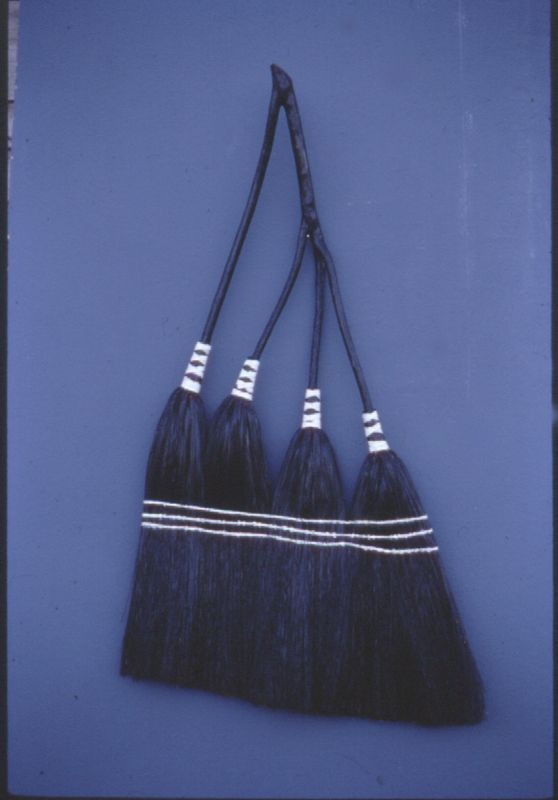 Black and White Four Head Broom. By Ralph Gates. Handmade. Friendswood Brooms.