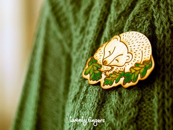 Wood Laser cut Brooch Sleeping Bear by TheTwentyFingers on Etsy, $14.00