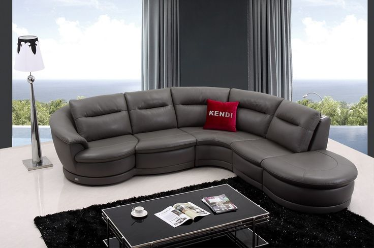 Modern Leather Sectional Sofa furniture in Grey - $3740 -- Features: L shape, Chair With Armrest Rotates #sofas #furniture #LAfurniture #sectionalsofa #sectionals #couches #Furnituredesign #HomeDecor  #leathersofa