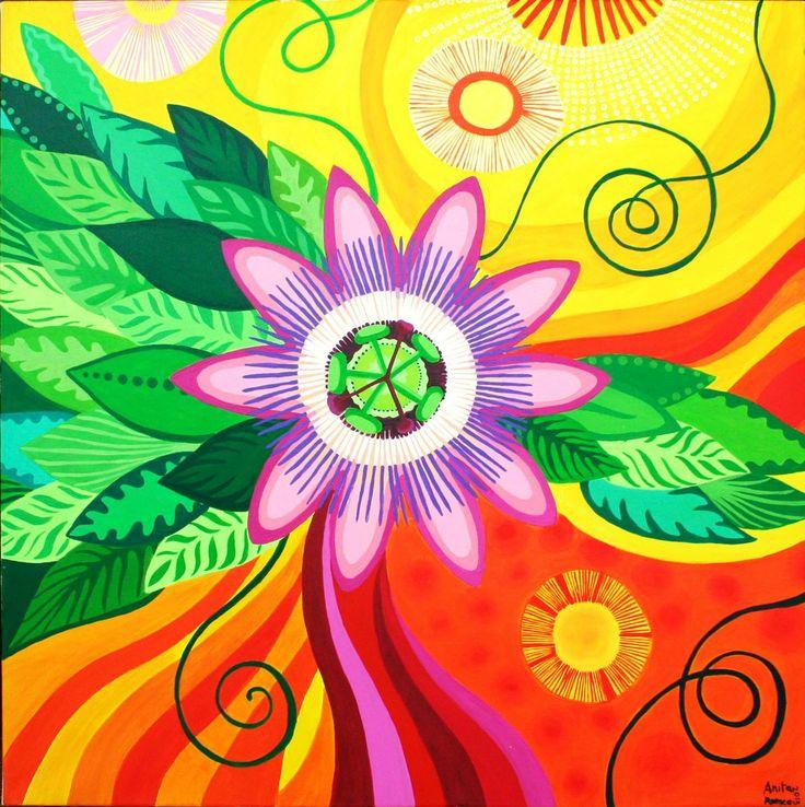 Passion Flower - Acrilic on canvas by Anita Romeo