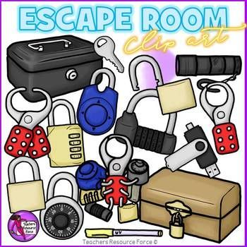 Creating resources or bulletin boards for escape room / break out activities in your classroom? This set of 35 quality images has everything you need in both color and black and white. Product includes: • regular locked padlock • regular