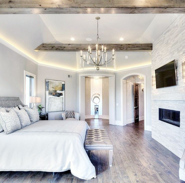 #masterbedroom #fireplace #lighting #lightgray | Farmhouse ...