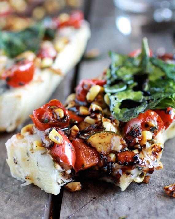 Simple Crispy Basil Caramelized Garden Vegetable on Fontina French Bread Pizza
