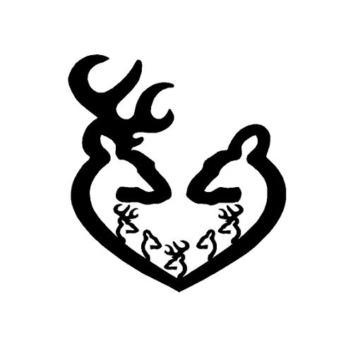 12 Inch Browning Buck Doe Deer Heart with 5 Kids Decal Sticker   cafedecals - Housewares on ArtFire