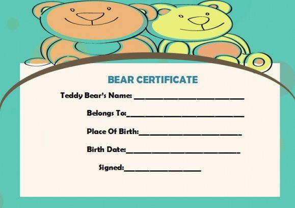 Build A Bear Certificate Birth Certificate Template Certificate Template Birth Certificate