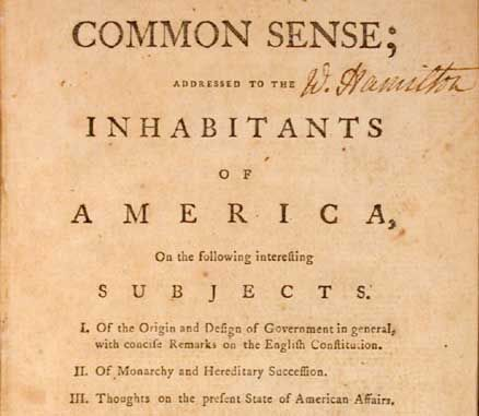 Common Sense - Written by Thomas Paine which blames King George lll for the colonies problems and urged America to declare independence from Britain