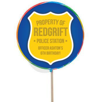 Police PERSONALIZED Large Lollipops - 12 Pack Party Supplies Canada - Open A Party