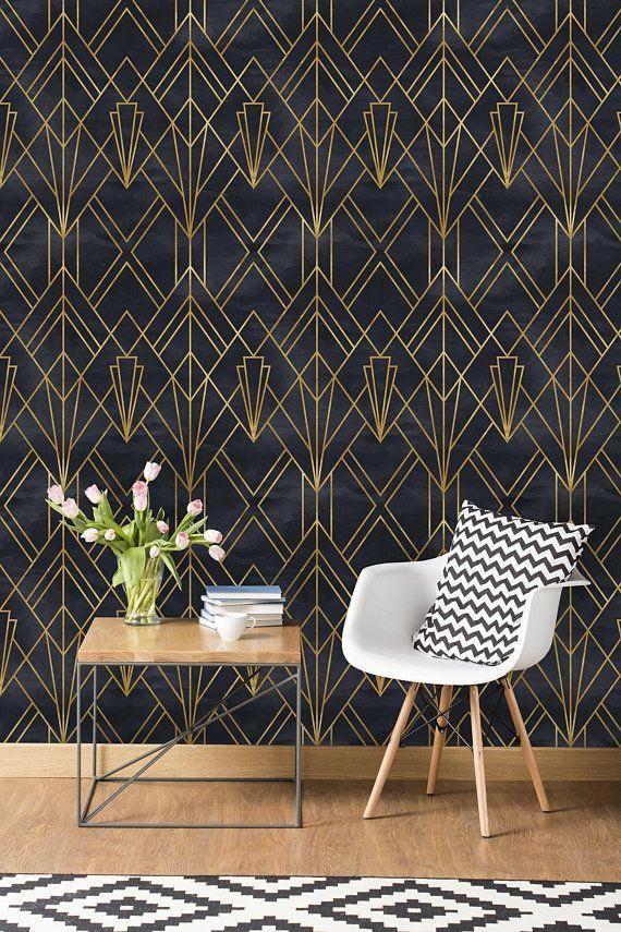 Removable Wallpaper Self Adhesive Wallpaper Gold And Black Geometric Peel Stick Wallpaper Bathroomwallpaper Art Deco Wallpaper Home Wallpaper Gold Wallpaper