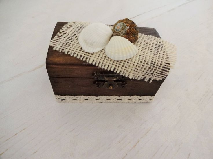 Beach Wedding Ring Box, Seashells Ring Box, Outdoor Wedding Ring Box, Ring Bearer Box, Pillow Alternative, Beach Proposal Ring Box by GracesLaces on Etsy