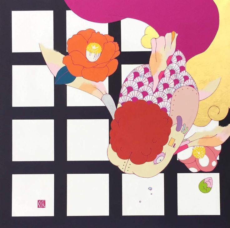 安岡亜蘭 square S10号 アクリル、雲肌和紙