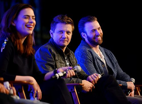 """New/Old: Hayley Atwell, Jeremy Renner and Chris Evans on day 2 of Wizard World Comic Con New Orleans held at New Orleans Morial Convention Center on January 9, 2016 in New Orleans, Louisiana. """