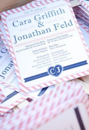Navy Blue & Fuchsia Wedding Invites