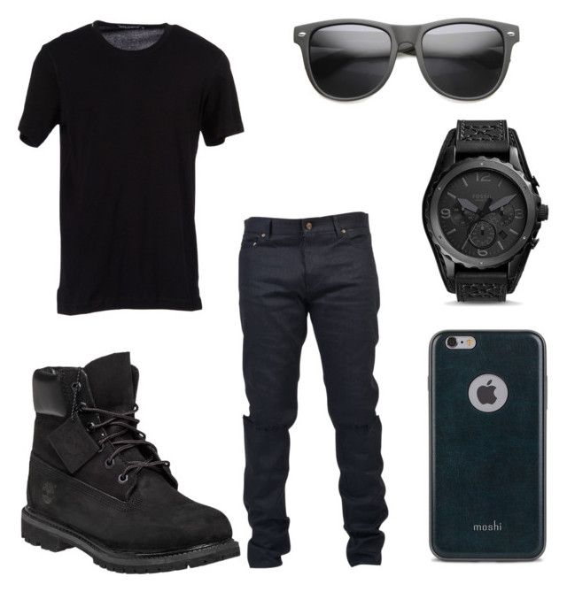 """""""All Black Party Outfit for Men"""" by deajhaboyd on Polyvore featuring Timberland, Yves Saint Laurent, Dolce&Gabbana, Moshi, FOSSIL, men's fashion and menswear"""