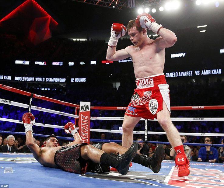 Canelo Alverez v Amir Khan  Canelo delivers right hand knockout