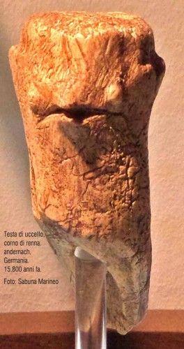 testa di uccello, corno di renna. 15.800 anni fa