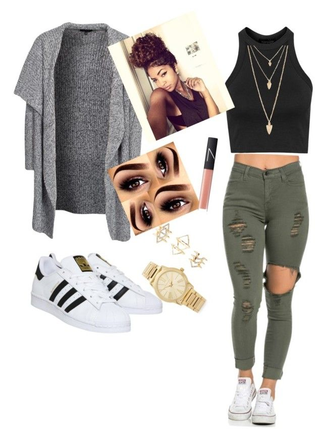 """Untitled #2"" by treasure498 on Polyvore featuring adidas, New Look, Topshop, Michael Kors, Forever 21, Charlotte Russe and NARS Cosmetics"
