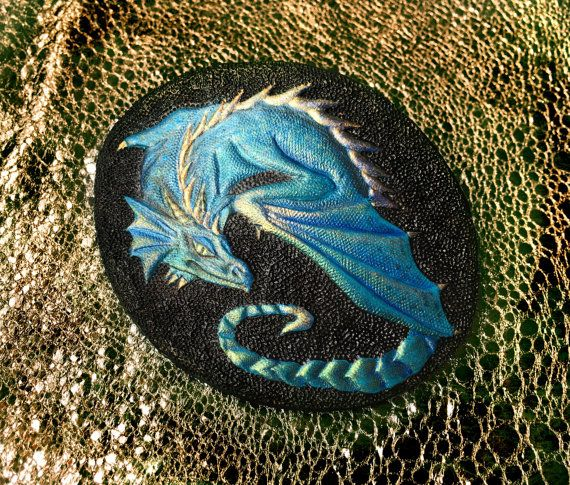 Azure dragon hair barrette  Hand tooled leather by Gemsplusleather
