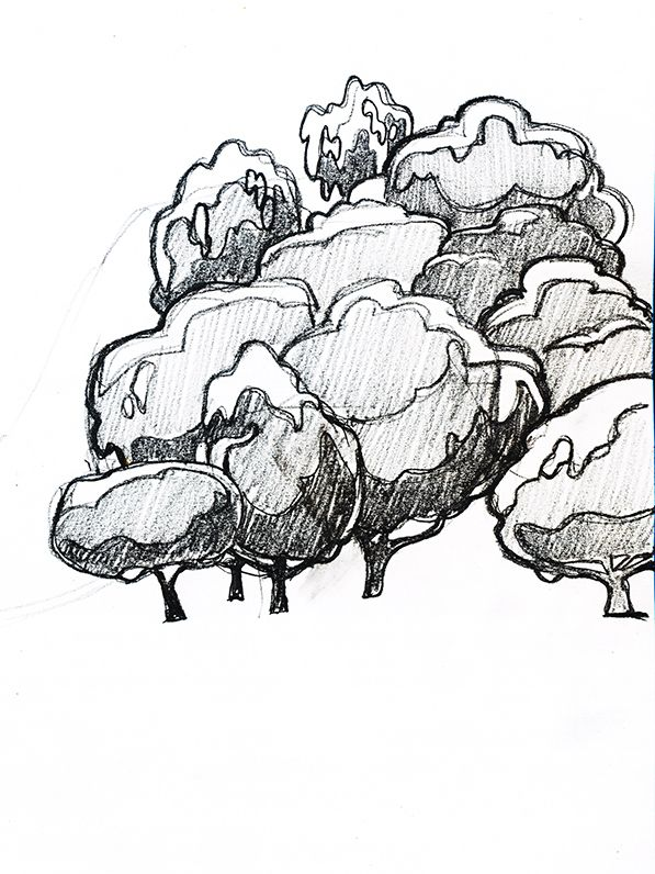 Trees sketch for vector golf poster