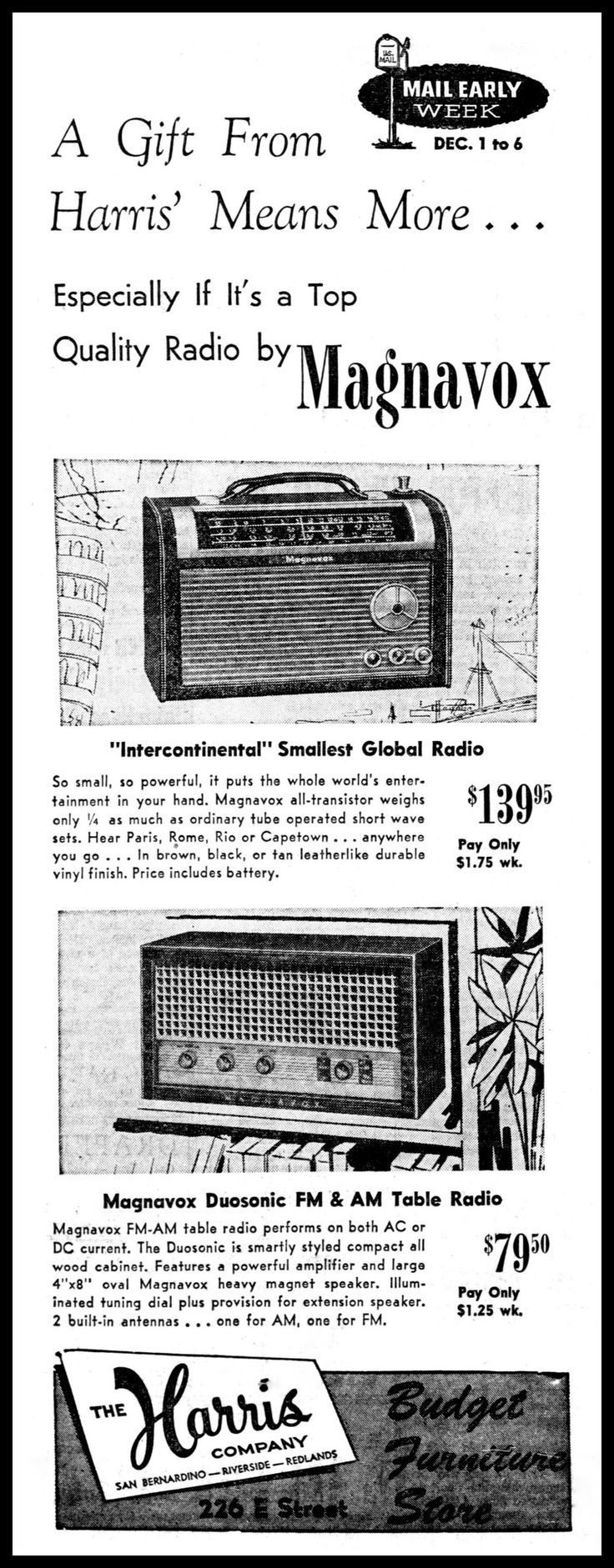 https://flic.kr/p/YwN18f | Advertising For The Magnavox Model FM18 Table Radio In The San Bernardino County California Sun Newspaper, December 4, 1958