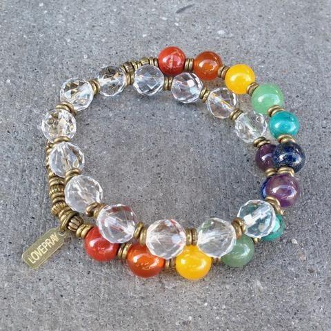 Bracelets - Chakras, Genuine Gemstones And Quartz Crystal 27 Bead Wrap Mala Chakra Bracelet™