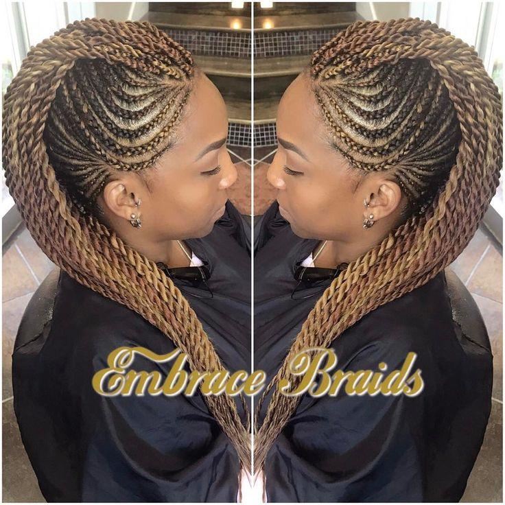 "565 Likes, 33 Comments - Master Braider Embra bka Em  (@embracebraids) on Instagram: ""Mohawk ❤️ #braids #mohawk #braidedmohawk #scalpbraids #cornrows #feedinbraids #braidedupdo…"""